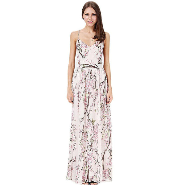 Sexy Summer Dress Women's Floral Printing Sleeveless Chiffon Maxi Beach Boho Dress Spaghetti Strap Backless Dress vestido longo