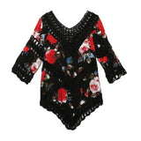 Sexy Off Shoulder Blouse  Women V Neck Hollow Crochet Floral Printed Casual Beach Clothes Tops Three Quarter Knitted kimono