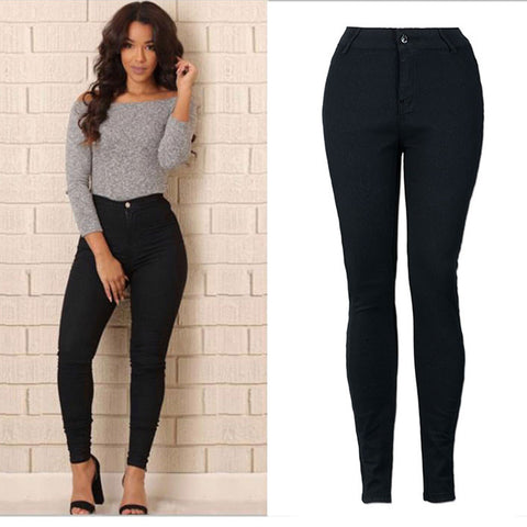 Leggings Jeans for Women Pencil Stretch Casual Denim Skinny Jeans High Waist Long  Legging Plus Size Trousers Black