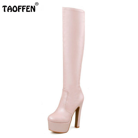 Shoes Women Boots Thigh High Boots Over The Knee Boots Round Toe Platform Thick High Heels Boot Ladies Footwear Size33-40