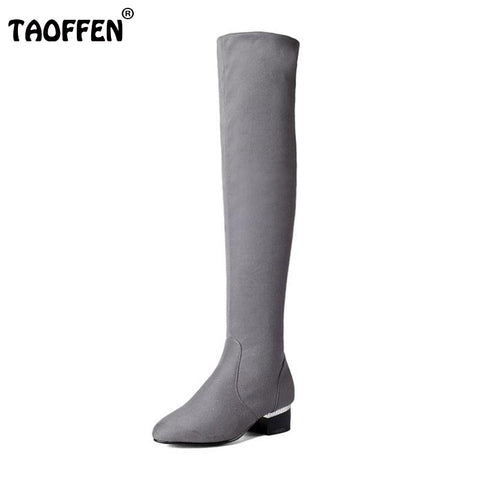 Women Stretch Suede Leather Slim Thigh High Boots Round Toe Fashion Over Knee Boots Square Heels Woman Shoes Size 32-43