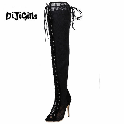 Runway Shoes Thigh High boots Sexy pumps Over Knee boots women Gladiator Sandals High Heel shoes lace peep toe Pumps women