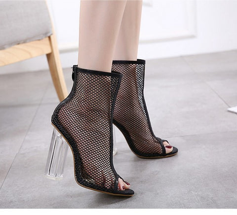 Women Summer Ankle Boots Mesh Cut Out Hollow Peep Toe Bootie Shoes Woman Transparent Block Thick High Heel Sandals