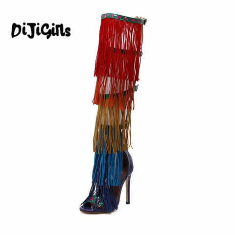 Brand Designers New Hot Summer Bohemian Women Fetish Shoes Colorful Tassel Gladiator Sandals Over The Knee Thigh High Boots