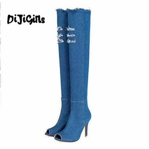 blue denim boots over the knee thigh high ripped jeans boots summer women high heel shoes tassel stiletto pen toe boots