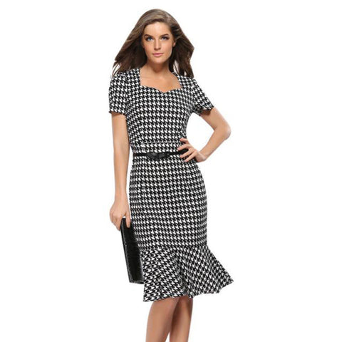 Newest Womens Elegant Plaid Bodycon Work Cocktail Party Celebrated office Pencil Dress Summer Sundresses