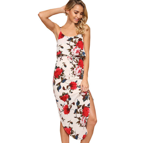 Summer Maxi Dress Women Sexy Split Floral Print Sleeveless Camis Ankle-Length Casual Spaghetti Strap Cami Bodycon Dress