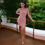 New Arrivals Dress Sexy Women Long Sleeve Cocktail Party Club Beach Turtleneck Mini Short Dress vestido casual