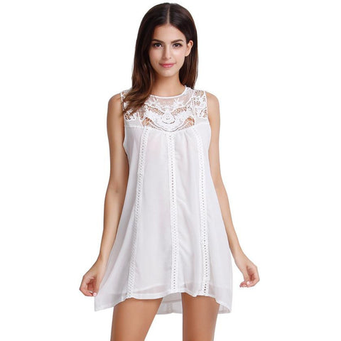 Summer Dress Fashion Lady Women Sexy Hollow Out Sleeveless Pullover Shirt A-Line Chiffon White Dress Party Dresses