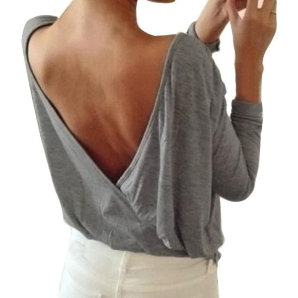Backless Blouse  Summer Sexy Women Long Sleeve Ladies Casual Loose Shirt Full Sleeve Round neck Elegant plus size Tops - Kristen Kim