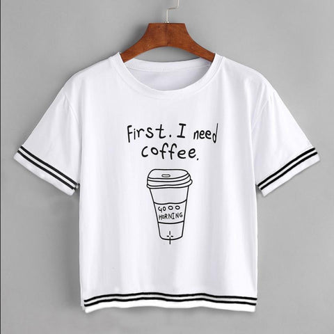 frist i need coffee Letter Print Women T-Shirt Loose Pullover Tops Short Sleeve Casual Short harajuku Shirt