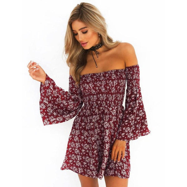 Fashion Summer Dress  Women New off shoulder Short Beach Wear Casual Flare Sleeve Evening Party Mini Dresses vestidos bordad - Kristen Kim