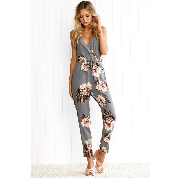 Floral Print Jumpsuit Women Sexy Backless Clubwear Sleeveless Party Playsuit Beach Trouser  Long Rompers Womens Jumpsuit