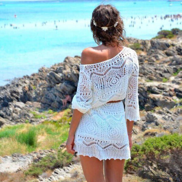 JECKSION Sexy Beach Dress for Women  Fashion Hollow Out White Lace Dress Party Dresses With Belt #LYW