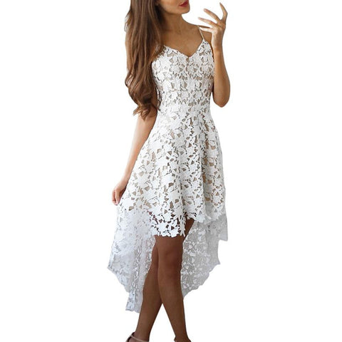 Sexy Backless  Lace Dress Women Floral Hollow Out  V-Neck Cocktail Formal Swing Irregular Dress Casual White vestidos