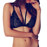 Black Women Bandage Floral Lace Bralette Bustier Crop Top Sheer Triangle Bra V-Neck Bodycon Bra Underwear Vest - Kristen Kim