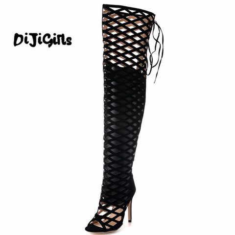 Sexy Women Fetish Shoes Suede Openwork CutOut Hollow Caged Over The Knee Thigh High Boots Roman Gladiator Sandals Dance Clubwear