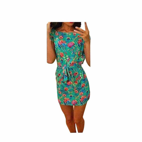 Summer Women Sexy Floral Printed High Quality Beach Casual Loose Mini Party Short Sleeve Dress #LWN