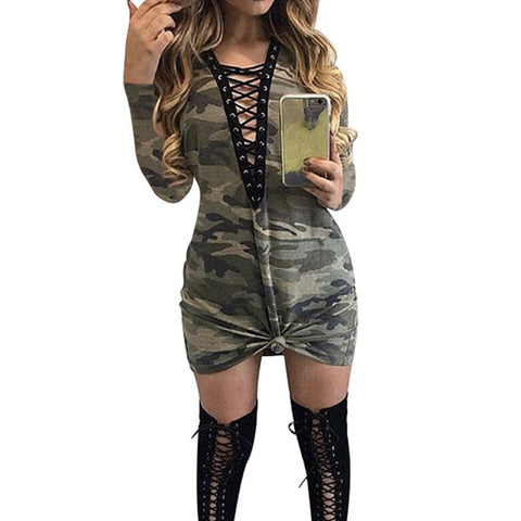 Fashion Women Sexy Open Bandage Deep V Bodycon Long Sleeve Dress For Cool Girls Ladies Camouflage Mini Dress