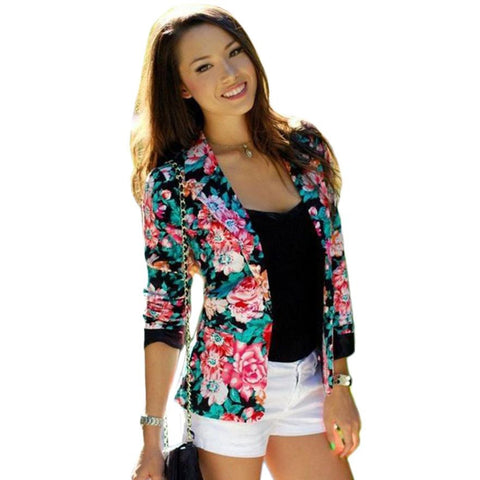 JECKSION Floral Slim Suit for Women Long Sleeve Jacket Turn-Down Collar Coat Single Button Outwear YL15