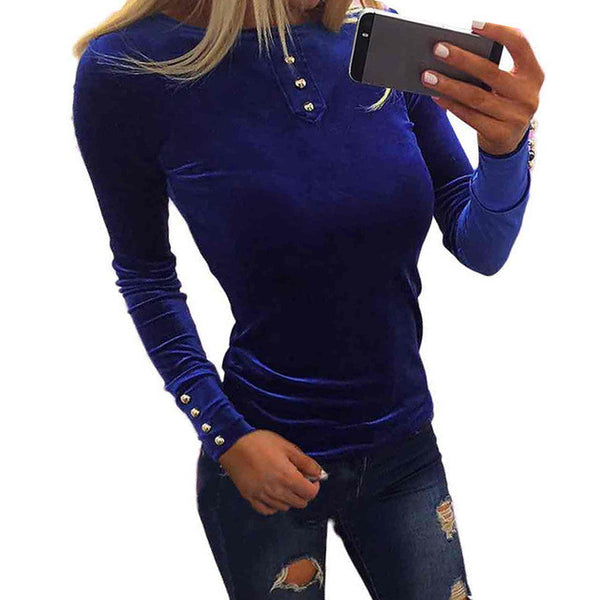Sexy Velvet Blouse Women 4 Buttons Long Sleeve Stretch Shirt Loose Pullover Tops blusas#LSIN