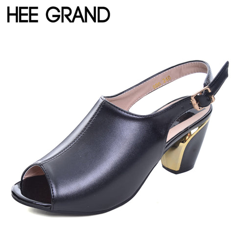Women Summer Sandals Peep-toe Solid PU Leather Med High Heels Shoes Woman Square Heel Pumps Spring Size 35-40