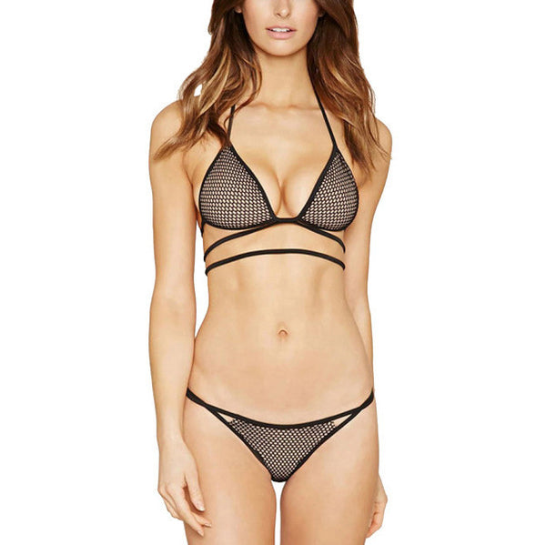 Mesh Panties + Push Up Bra Set