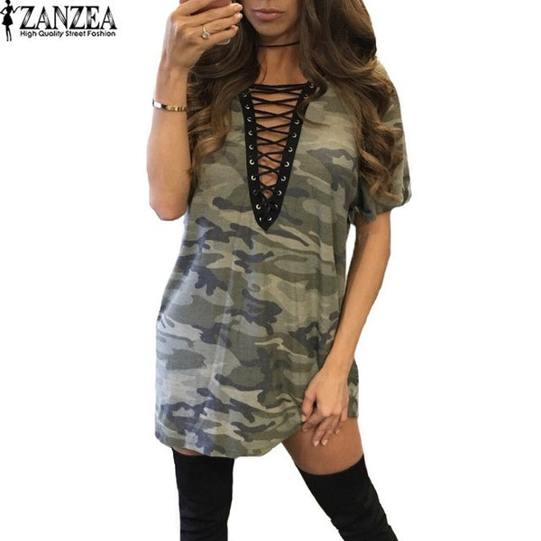 ZANZEA Womens Sexy Lace-up Deep V Neck Summer Short Sleeve Camouflage Low Cut Straight Mini Dress Casual Vestido Plus Size