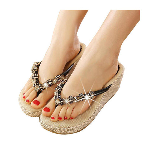 Flip Flops Woman Summer Slippers Wedge Pumps Rhinestone Beading Hemp Bohemia Beach Style Shoes Woman