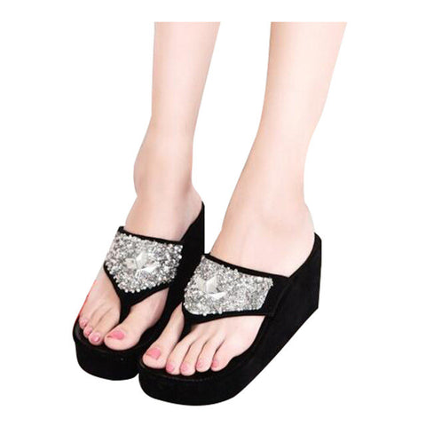 Brand Women Sandals Flat With Rhinestones Flip Flops Thick Bottom Platform Trifle Summer Beach Shoes For Woman