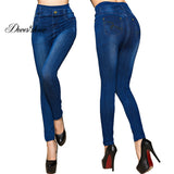 Fashion Slim Women Leggings Faux Denim Jeans Leggings Sexy Pocket Printing Summer Leggings Casual Pencil Pants Women Clothing