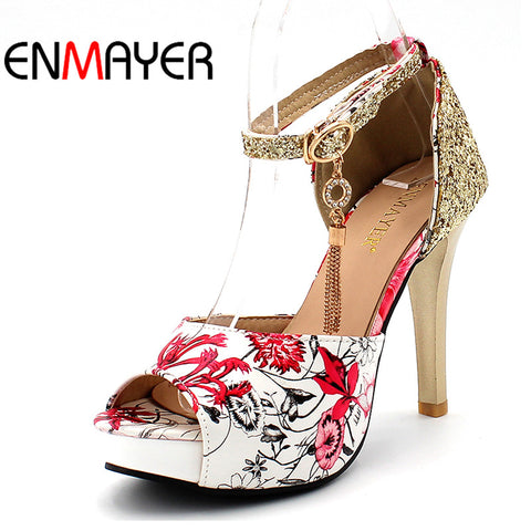 Summer Women Casual Fashion Print Sandals Pumps Shoes Peep Toe Buckle Strap Thin Heels Large Size 34-47 Black Blue Red