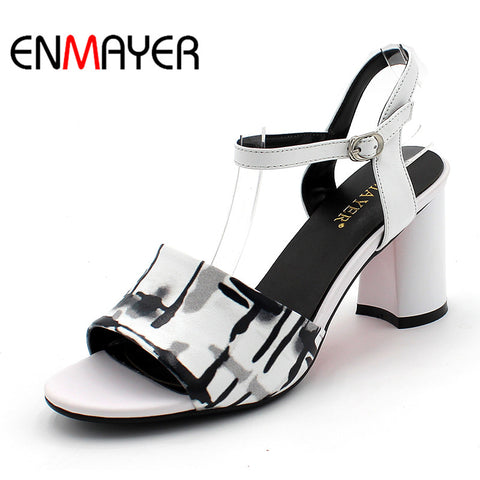 Women Summer Fashion Print Sandals Pumps Shoes Cow Leather Peep Toe Buckle Strap Hoof Heels Large Size 34-39 White