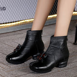 Vintage Style Winter Genuine Leather Women Boots Thick Heels Booties Soft Cowhide Women's Shoes Back Zip Ankle Boots zapato