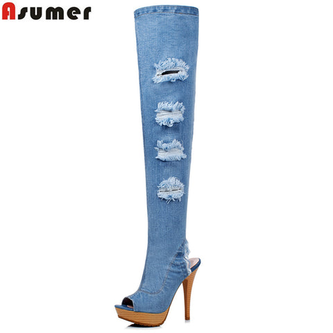 Large size 34-41 new high quality denim over the knee boots women high heels hole denim boots sexy thigh high boots