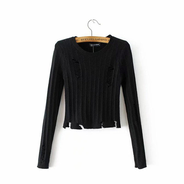 Simenual  Short women sweaters and pullovers ripped vintage fitness pull autumn knitwear base solid cropped sweater