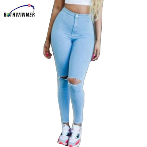 Hot Sale Vintage Hole Ripped Jeans Woman Plus Size Elasticity High Waist Skinny Jeans Women Pencil Denim Pants Jeans Femme Mujer