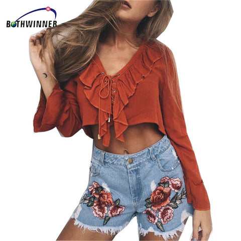 Bothwinner  Fashion Summer Women Shorts Flower Embroidery High Waist Shorts Women Plus Size Denim Shorts Jeans Femme Feminino