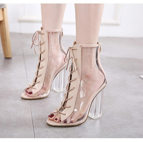Women Summer Ankle Boots Peep Toe Bootie Clear Crystal Transparent Block Chunky High Heel Pumps High Top Shoes Woman