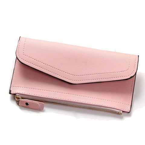 PU Leather Women Wallet Long Purse Vintage Solid Multiple Cards Holder Clutch Fashion Standard Wallet