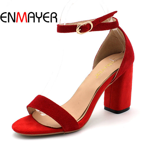 Summer Women Casual Fashion Sandals Pumps Shoes Ankle Strap Peep Toe Buckle Strap Square Heel Large Size 34-43 Black Red