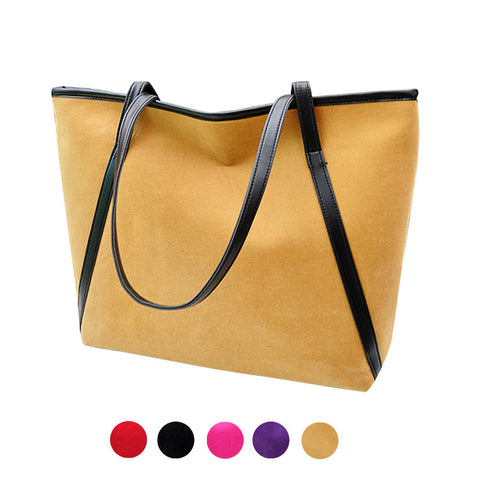 Women tote New Simple Winter Larger Capacity Leather Suede Women  Messenger Bag