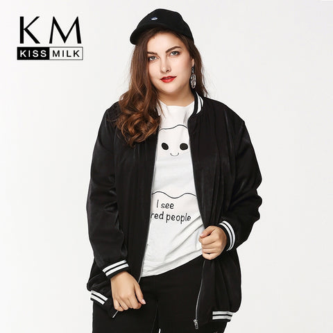 Kissmilk Women Plus Size Bomber Jacket Zip Up Baseball Jacket Coats Quilted Outdooer Hoodies Big Size Oversize Outfits Girls