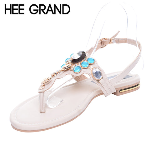 Rhinestones Women Sandals Summer Style Flat With Flip Flops Fashion Crystal Shoes