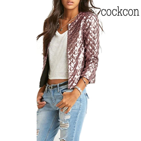 Brand New Spring Style Vogue Women Lozenge Sequins Jackets Stylish Solid Coat Fashion Short Slim Outwear Round Neck Gold/Brown