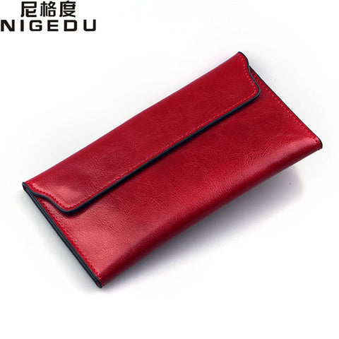 Genuine Leather Women Wallet Long thin Purse Cowhide multiple Cards Holder Clutch bag Fashion Standard Wallet - Kristen Kim