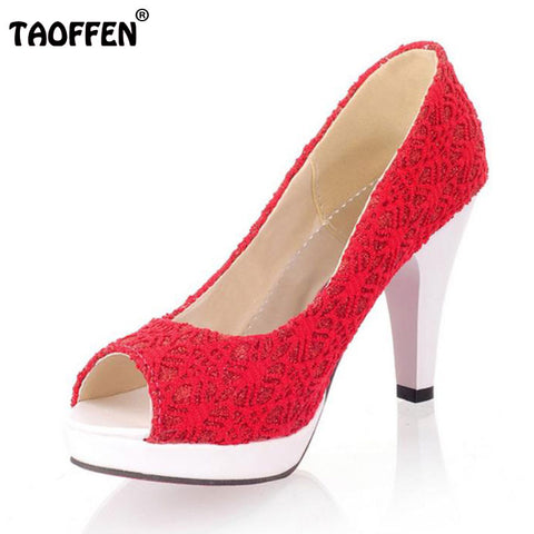 Ladies Stiletto High Heels Peep Toe Shoes Shoes Women Wedding Lace Sexy Casual Slip-On Platform Pumps Size 31-43