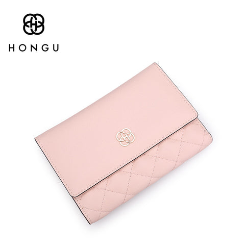 Genuine Cow Leather Trifold Wallet Bags Fashion Ling plaid Sewing Women Clutch Female Purse Coin Card Slots Bag Money Clip - Kristen Kim