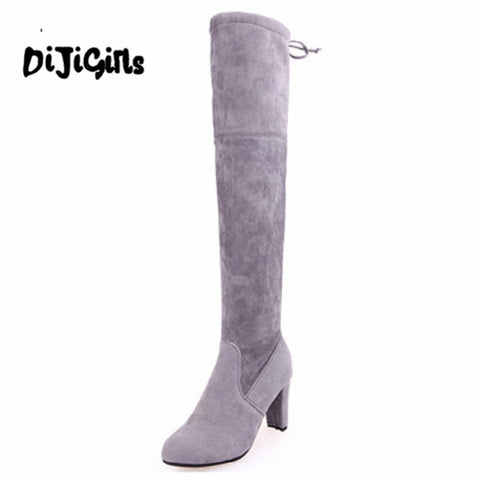Lady Women Winter High Heels Boots Slim Thigh High Boots Sexy Fashion Over Knee Boots Girls Botas Shoes 3 Colors