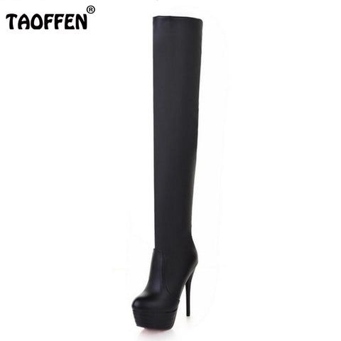 Spring Autumn Fashion Sexy Thin High-Heeled Women's Slim Woman Thigh Boots Over The Knee Boots Large Size 31-43